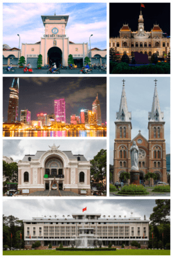 Clockwise, from top left:Bến Thành Market, Ho Chi Minh City Hall, Notre-Dame Cathedral Basilica of Saigon, Independence Palace, Municipal Theatre, View of central Ho Chi Minh City from District 2