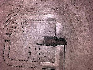 Near infra-red kite aerial photo of Kinneil Roman Fortlet