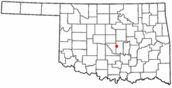 Location of Pink, Oklahoma