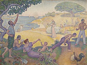 Paul Signac, 1893-95, Au temps d'harmonie, oil on canvas, 310 x 410 cm