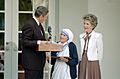 President Reagan presents Mother Teresa with the Medal of Freedom 1985