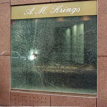 Bulletproof glass window after a burglary attempt
