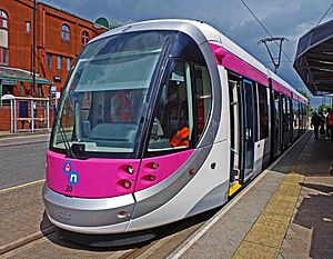 Midland Metro tram no. 20 on display at St. Georges, Bilston Street, Wolverhampton, geograph-4028311-by-P-L-Chadwick