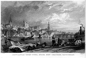 Newcastle-upon-Tyne from New Chatham engraving by William Miller after T Allom