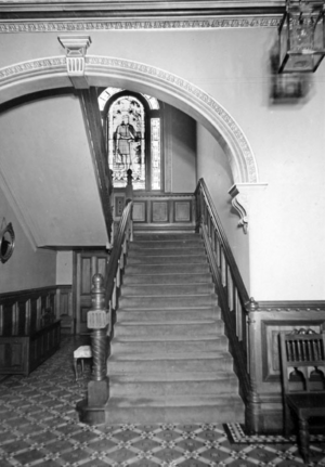 Queensland State Archives 1482 View at Government House Main Stairway stained glass window shows Robert Bruce 11 May 1950