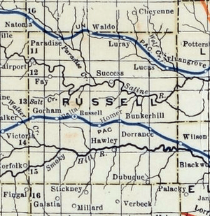 Stouffer's Railroad Map of Kansas 1915-1918 Russell County