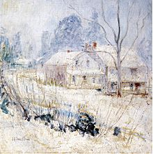 Country House in Winter, Cos Cob, by John Henry Twachtman, circa 1901