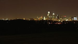 A360, Philadelphia, Pennsylvania, USA, night skyline from Belmont Mansion in Fairmount Park, 2009