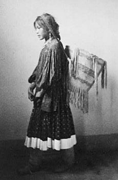 Apache girl with basket