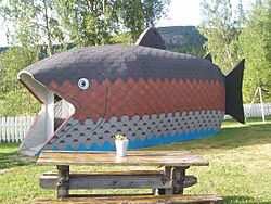 Tourist information fish at Björkängen, Ljustorp