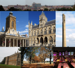 From top left: Skyline of Northampton town centre from Delapre Park; All Saints' Church; Northampton Guildhall; the National Lift Tower; Delapré Abbey; Abington Park; Market Square.