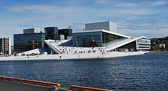 Oslo Opera House seen from Langkaia