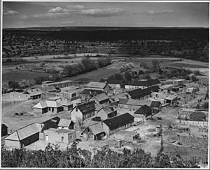 El Cerrito, San Miguel County, New Mexico. The village of El Cerrito is set in a land pocket cut ou . . . - NARA - 521147