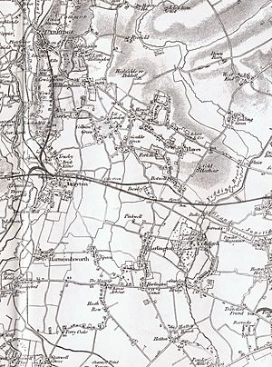 Harlington as seen on Ordnance Survey map sheet 71, 1822-1890, with railway added 1891