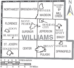 Map of Williams County Ohio With Municipal and Township Labels