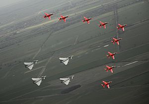 Red Arrows and Typhoons flypast for 90th Anniversary of the RAF MOD 45147908