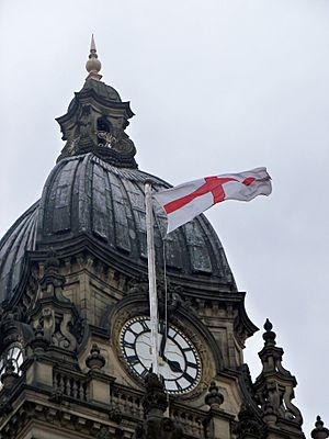 St George's flag on Leeds Town Hall