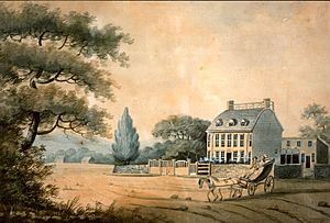 Watercolor of the Old House of the Adams family, 1798