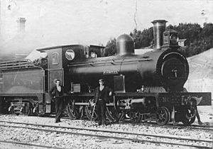 "North Mount Lyell Railway Avonside 4-6-0 No. 1 ""J. Crotty"" at Kelly Basin, circa 1900 (11658911376)"