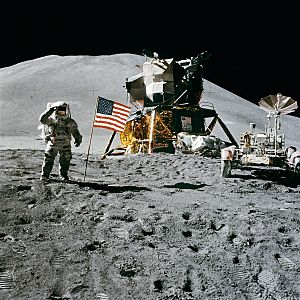 Apollo 15 flag, rover, LM, Irwin
