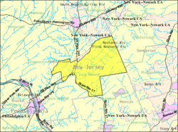 Census Bureau map of East Amwell Township, New Jersey