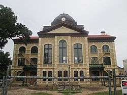 The Colorado County Courthouse under renovation in 2013, with restoration of historic colors