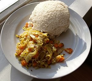Ugali and cabbage