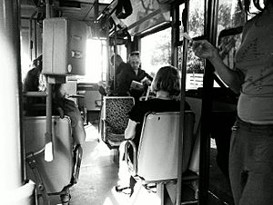 Athens bus interior in 2013