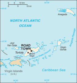 Map showing Road Town within the BVI