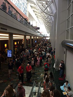 Crowds in the Salt Palace Convention Center at the 2015 Salt Lake Comic Con in Salt Lake City, Utah