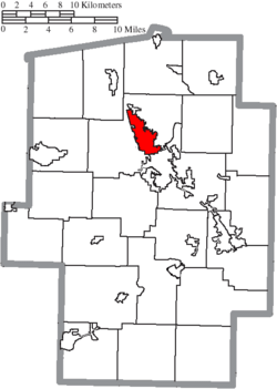 Location of Dover in Tuscarawas County