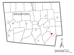 Map of Bradford County with Wyalusing highlighted
