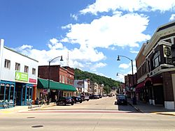 Richland Center's historic downtown, viewed from Court and Main Street.