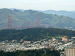 San Francisco's Richmond District in foreground, with Golden Gate Bridge, Marin Headlands, and the Presidio in background